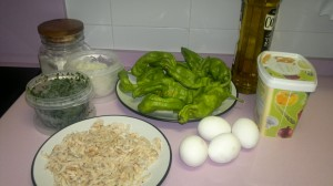Ingredientes para tortilla de camarones