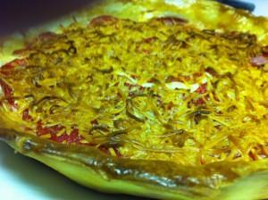 Le añadimos queso rayado y al horno unos quince minutos.